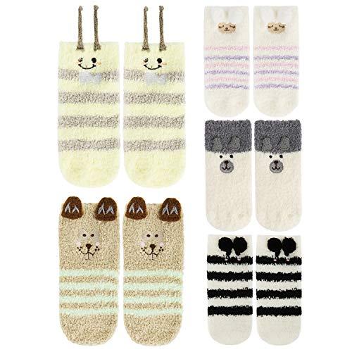 5 Pack Baby Toddlers Boys Girls Anti Grip Fuzzy Slipper Socks, Super Soft Winter Fluffy Warm Ankle Animal Floor Socks