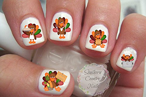 Amazon autumn fall leaves 5 nail art decals beauty thanksgiving 3 turkey nail art decals prinsesfo Gallery