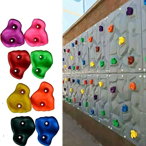 Lelly Q Multi-Colored Pack of 10 Rock Climbing Holds for Kids and Adults,Large Rock Wall Grips for Indoor and Outdoor Play Set Build Rock Climbing Wall.Hand Holds for Playground