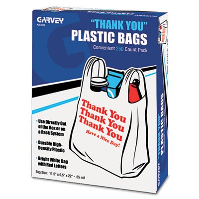 Universal 63036 Plastic Thank You Shopping Bag, 11.5 x 3.15 x 22, 0.55 mil, White/Red (Box of 250)