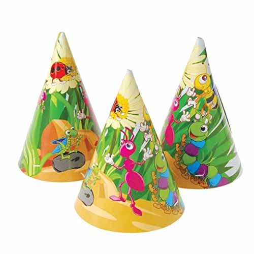 U.S. Toy Dozen Insect Bug Theme Paper Birthday Party Hats with Chin Straps