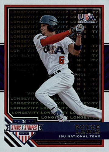 2017 Panini - 18U National USA Baseball Team - LONGEVITY PARALLEL - Stars and Stripes - Royce Lewis - Minnesota Twins Prospect Baseball Rookie Card - RC #33