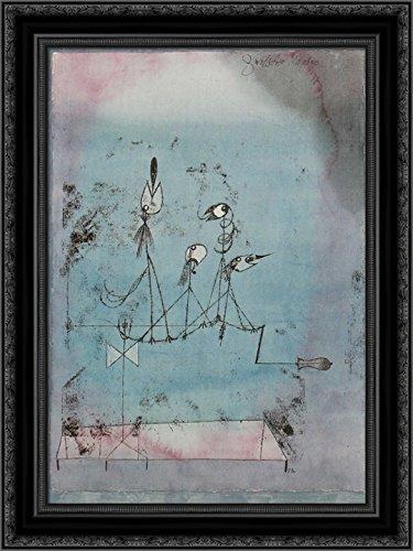 Twittering Machine 24x18 Black Ornate Wood Framed Canvas Art by Paul Klee