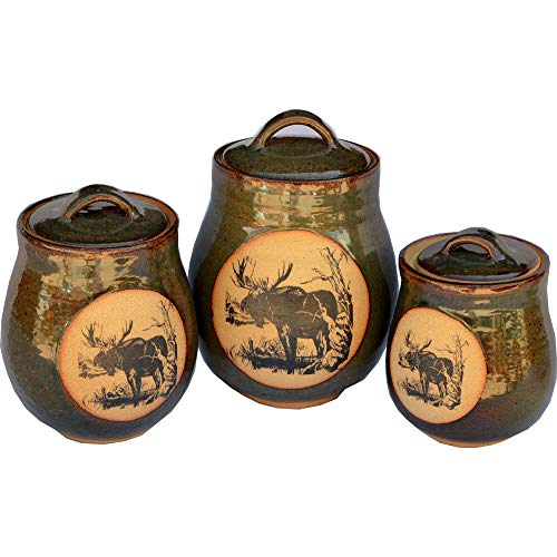 Set of Three Canisters in Moose design and Seamist glaze
