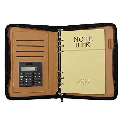 MoMaek Pu Leather Executive Zippered Professional Business Notepad Planner Zipper Organizer Pocket Holder/Student Portfolio Padfolio Organizer with Calculator, Notepad,Card Holders (A5, - A5 Organizer Brown