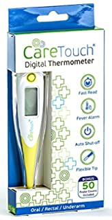 Care Touch Digital Thermometer with 50 Probe Covers, Oral Rectal and Underarm Use for Baby