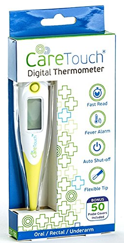 Care Touch Digital Thermometer with 50 Probe Covers, Oral Rectal and Underarm Use for Baby Child Adult and Pets