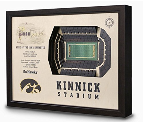 NCAA Iowa Hawkeyes Football 3D Stadium View Wall Art Kinnick Stadium