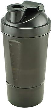 Denshine Proteína Coctelera Botella de 3 Capas de Batidora de vaso Botella mezclador (Negro 500 - 600 ml