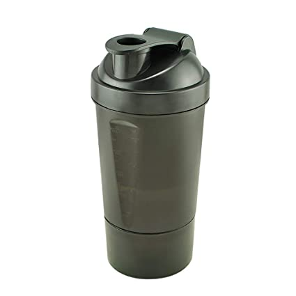 Denshine Proteína Coctelera Botella de 3 Capas de Batidora de vaso Botella mezclador (Negro 500
