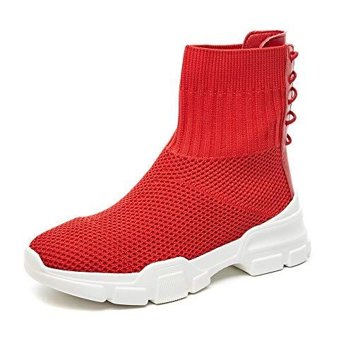 XINGMU Nuevos Zapatos De Mujer Elástica Hip Hop Zapatos Deportivos Materiales De Tela Elástica. Gules