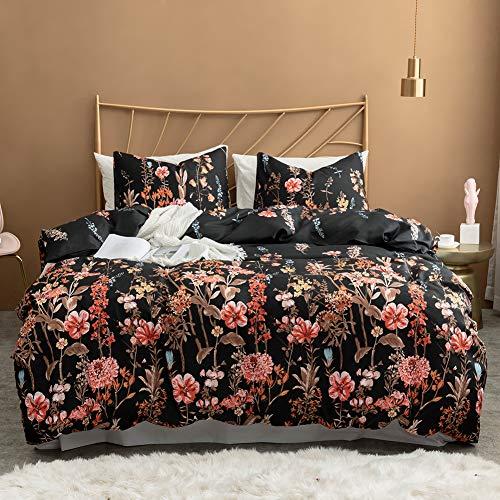 (Argstar 3 Pcs Queen Duvet Cover Set, Floral Bedding Sets, Black Comforter Cover with Flowers, Soft Lightweight Microfiber, 1 Duvet Cover and 2 Pillow Shams)