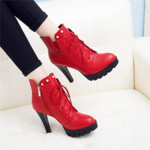 Women 's Martin boots spring and autumn thin shoes personality high heels short boots ( Color : Red , Size : US:5UK:4EUR:35 ) by LI SHI XIANG SHOP (Image #6)