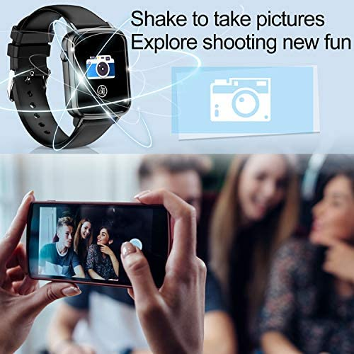 2020 CEGAR Fitness Tracker, Smart Watch with Heart Rate, Ip68 Waterproof Bluetooth Smartwatch for Android iOS Phone, Sleep Tracking Calorie Counter,Pedometer for Women Men (Black) 51BtMWTN4nL