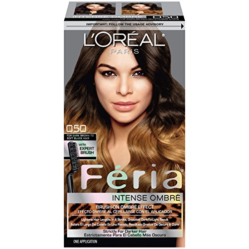 L'Oreal Paris Feria Brush-On Intense Ombre Effect Hair Color, O50 For Dark Brown to Soft Black Hair