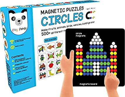 Play Panda Magnetic Puzzles with 200 colorful Magnets Magnetic Board And Display Stand