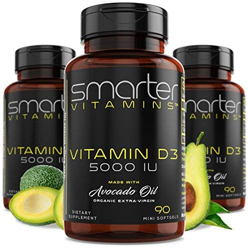 (3 Bottles) Vitamin D3 5000 IU in USDA Certified Organic Avocado Oil, 270 Mini Softgels, Non-GMO, Soy Free, Gluten Free, Supports Healthy Bones and Immune Function, 9 Month Supply