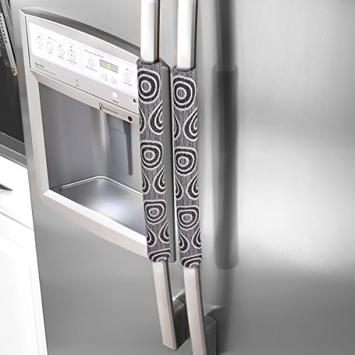 Refrigerator Print - OUGAR8 Handmade Refrigerator Dust Door Handle Cover-Catches Drips,Dust,Smudges and Fingerprints Leaving for Fridge Microwave Oven Handle Covers Home Kitchen Appliance Decoration(Circle,15.7