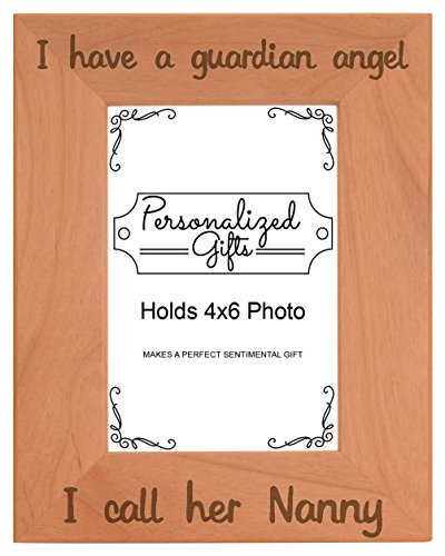 Remembrance Gifts for Grandma Nanny I Have a Guardian Angel Engraved Remembrance Gifts Natural Wood Engraved 4x6 Portrait Picture Frame (Pink Casket Spray Flowers)