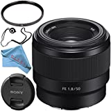 Sony FE 50mm f/1.8 Lens SEL50F18F + 49mm UV Filter + Fibercloth + Lens Capkeeper Bundle