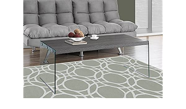Amazon Com Grey Coffee Table With Tempered Glass Kitchen Dining