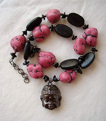 Buddha Necklace Chunky Black Veined Pink Magnesite Wood Obsidian and Gunmetal Finish - Magnesite Pink