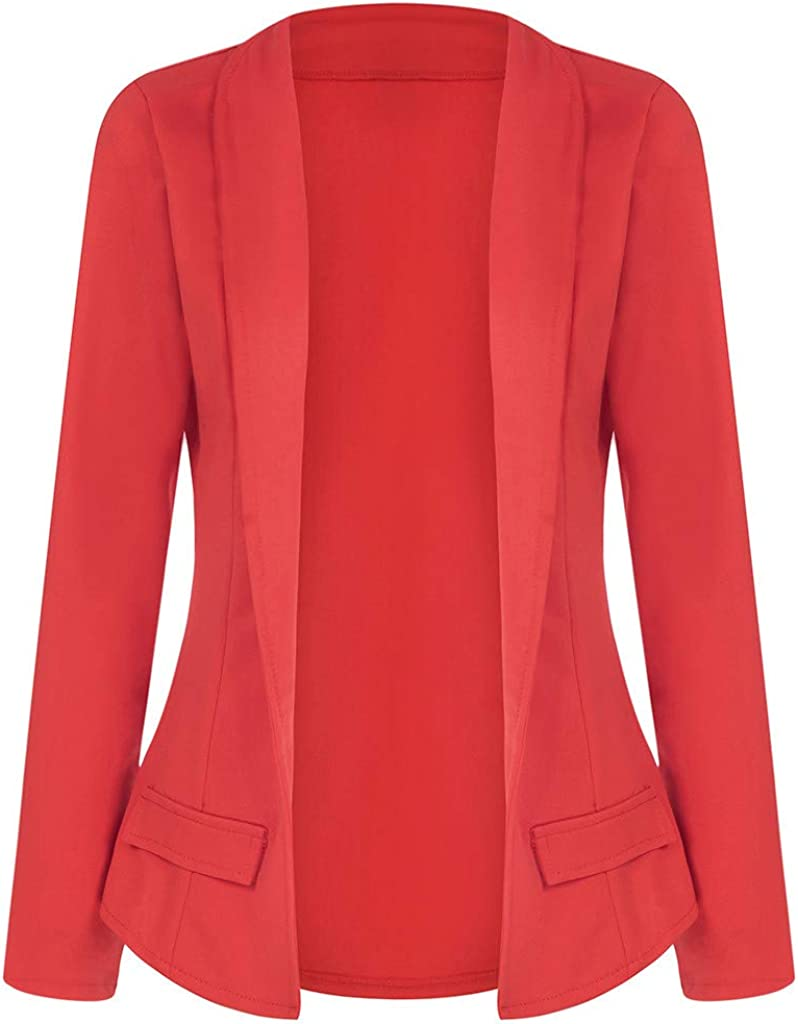 Plus Size Womens Solid Open Front Cardigan Long Sleeve Casual Jacket Coat