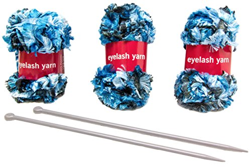 Knitting Set | Eyelash Yarn Scarf | (3) Yarn Balls (131ft) | Guaranteed | (2) Knitting Needles | Scarf Knitting Kit | Great Arts & Crafts Gift Idea