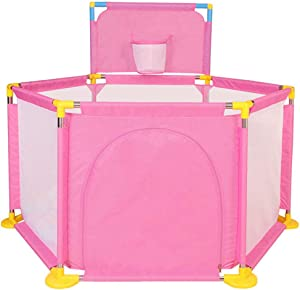 L.HPT playpens for Toddlers,Preschool Toys Indoor Playground Protective Playpen Hexagon Activity Area Fence with Basket Frame,129cm(50.8inch) in Diameter, (Red,Blue,Pink,Green)