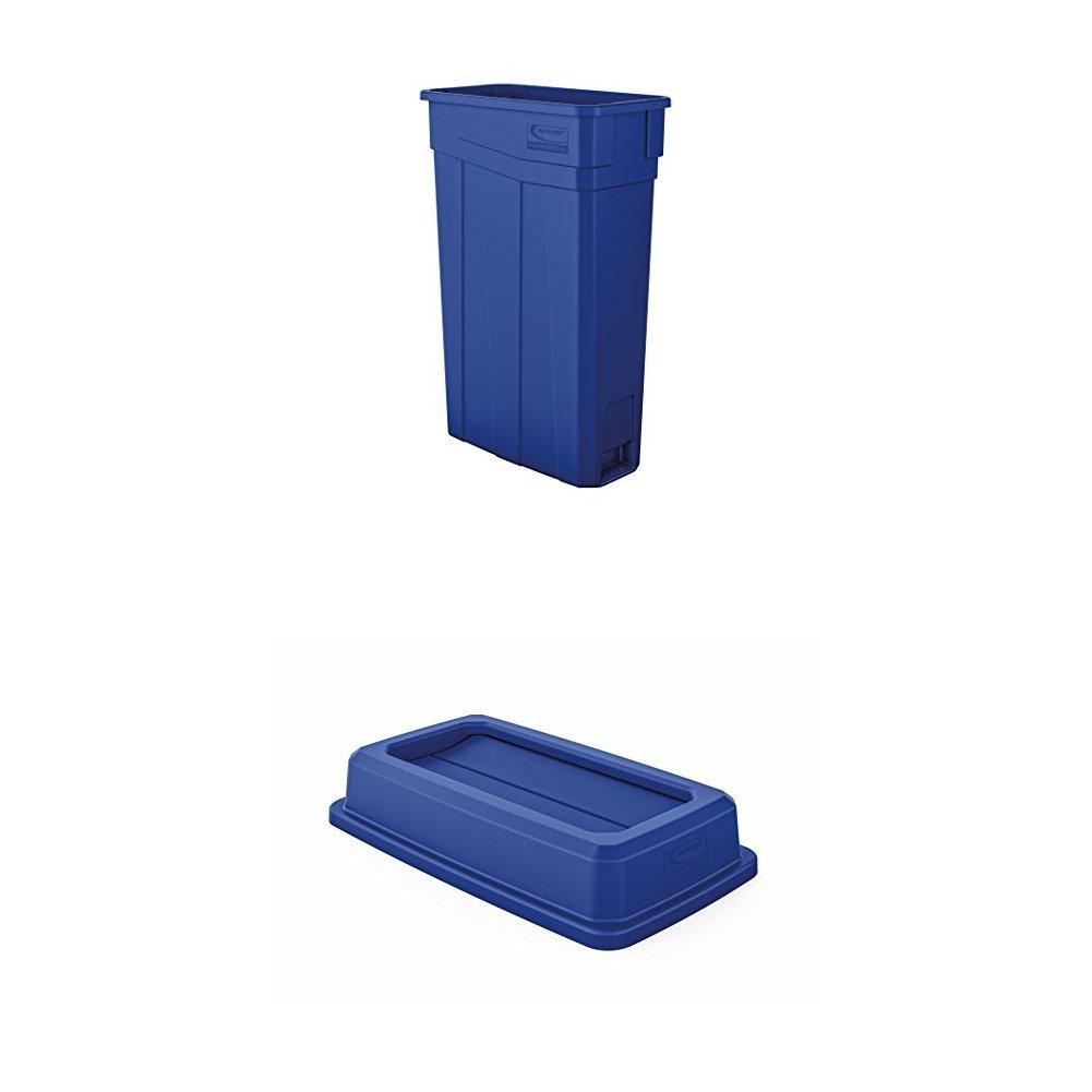 Suncast Commercial TCN2030BL Narrow Trash Can, 30.00'' Height, 11.08'' Width, 23 gal Capacity, Plastic, Blue Bundle