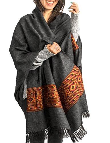 Kullu Handloom Wool Shawl Large Wrap Scarf Throw Woolen Blanket Grey Handmade
