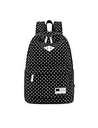 Bessky Canvas Backpack Polka Dot School Shoulder Bag Travel Rucksacks