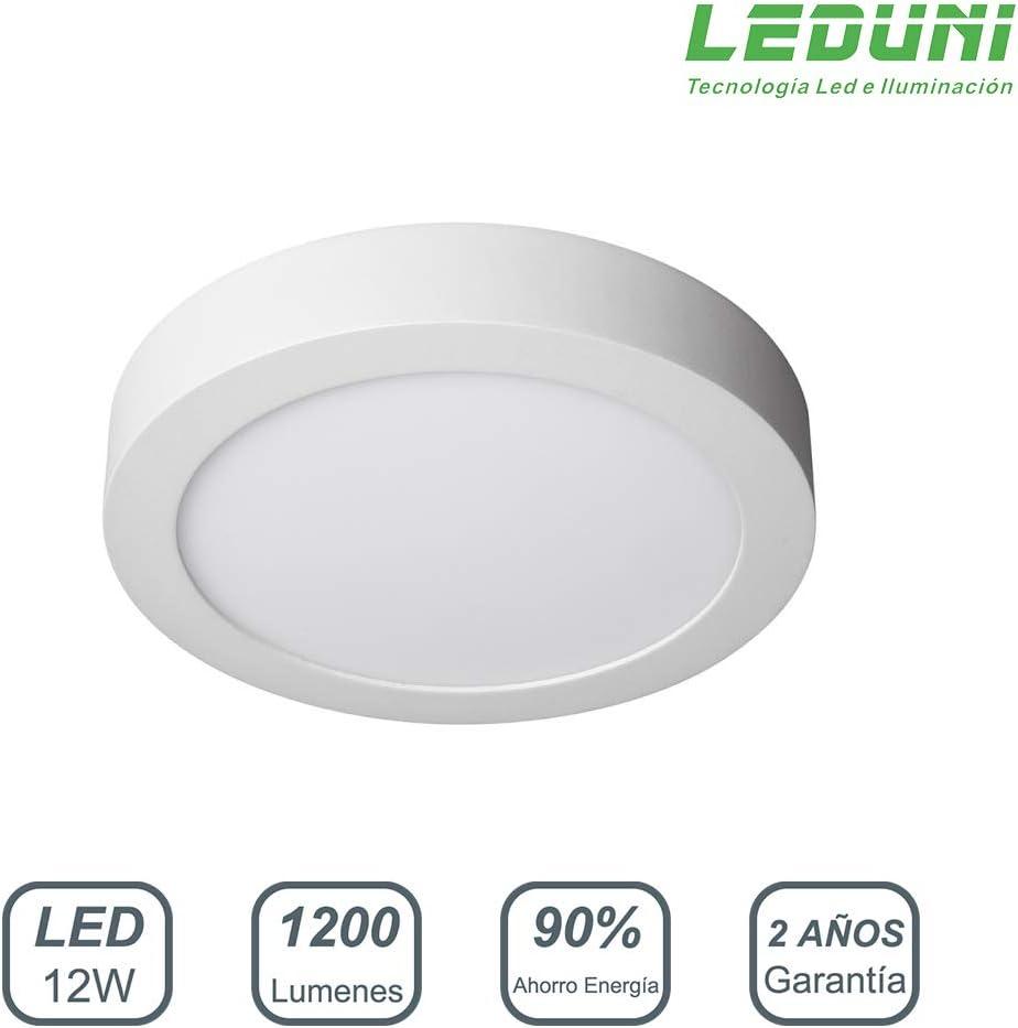 LEDUNI ® Downlight Plafón Superficie LED Redonda 12W 1200LM Color Blanco Frío 6000K Angulo 120 IP40 OPAL Aluminio 161 * 28Hmm