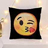 Emoji Sequin Mermaid Pillow Covers-Funny Changeable Face Cushion Cover DIY Decorative Pillowcase for Sofa Home Decor 16 X 16