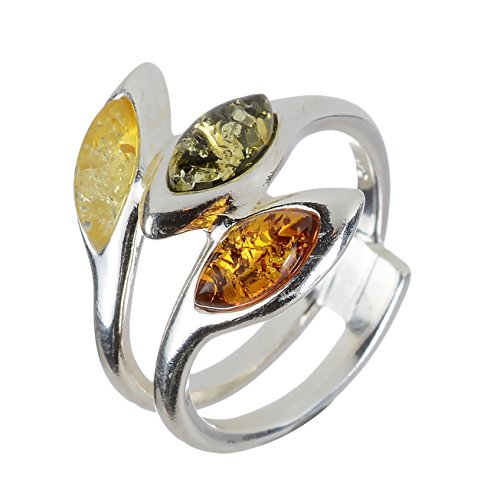 Sterling Silver and Baltic Multi Colored Amber Ring
