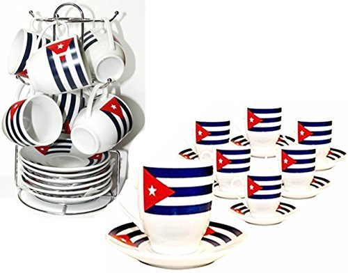 Cuban Flag Demitasse Set. 12 Ceramic Pieces and with Chromed Metal Rack.