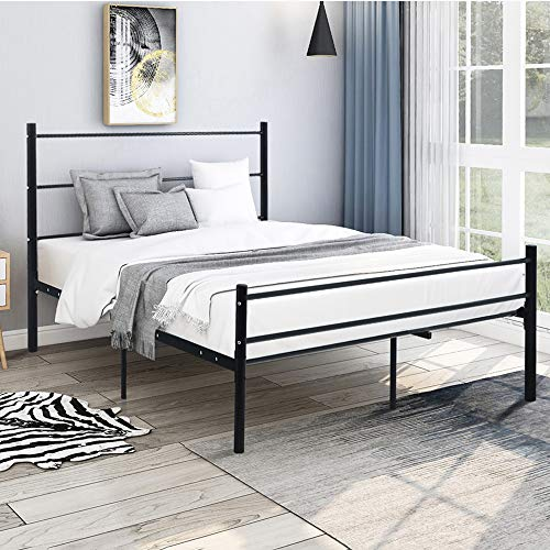 Romatlink Metal Platform Bed Frame with Headboard and Footboard Mattress Foundation- no Box Spring Needed, for Kids Girls Boys Adults No Box Spring Needed Black,Full Size, Strong and Sturdy