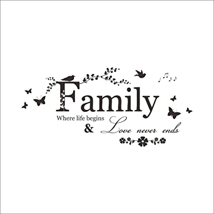 Aofocy Wall Decor Stickers Quotes Love Never Ends Flower Family