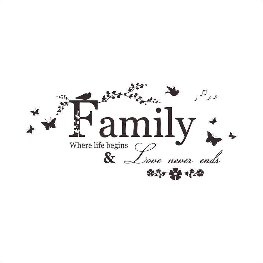 Potelin Wall Decor Stickers Quotes Love Never Ends Flower Family Quote Wall Stickers Vinyl Decals