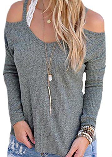 erdbeerloft - Damen Schulterfreies Langarmshirt mit Trägern, Dunkelgrau, Größe M