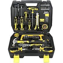 Dowell Juego de herramientas de propietario de 48 unidades, juego de herramientas de mano de reparación de viviendas con caja de herramientas de plástico, estuche