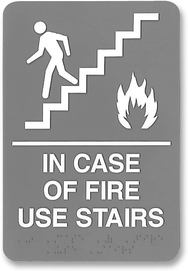 """Headline Sign 5400 in Case of Fire Use Stairs ADA Sign, Braille and Image Plastic Door Wall Sign, 6"""" x 9"""""""