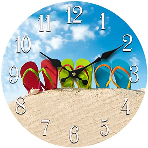 Flip-Flop Glass Wall Clock New 13-X-13Home-Wall-Decor-Coastal-Nautical-Beach