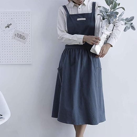 PENVEAT - Delantal de algodón y Lino Plisado con diseño nórdico de ...