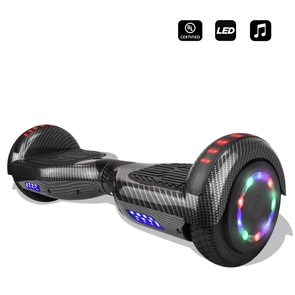 cho 6.5'' inch Wheels Electric Smart Self Balancing Scooter Hoverboard with Speaker LED Light - UL2272 Certified (-Carbon Fiber Design Black) by cho