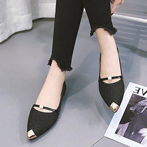 GAOLIM Ayuda Bajo Los Zapatos Solo Cubrezapatos Lazy Bones Pie Plano Zapatos Zapatos De Mujer Con Muelle De Dama Zapatos Zapatos De Punta Pequeña Negro