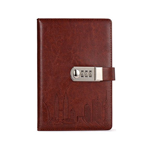 Journal With Combination Lock, ABBER PU Leather Notebook Password Diary Creative Password Stationery Student Handbook Notepad (Brown) (Business Contacts Handbook)