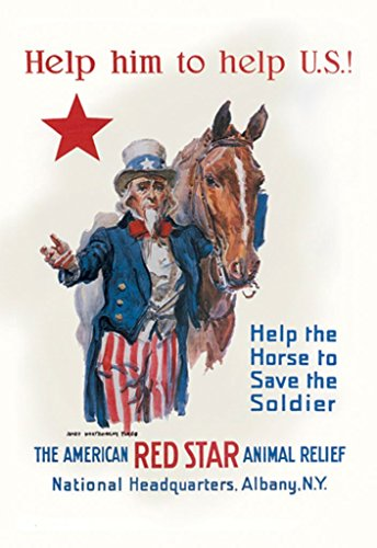 Buyenlarge Help Him to Help Us the American Red Star Animal Relief Albany NY by James Montgomery Flagg Wall Decal, 24