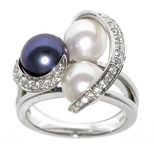 Sterling Silver Peacock and White Freshwater Cultured Pearl Cubic Zirconia Ring, Size 7