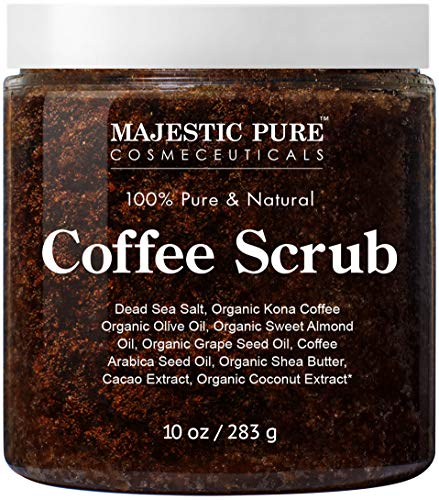 Majestic Pure Arabica Coffee Scrub - All Natural Body Scrub for Skin Care, Stretch Marks, Acne & Cellulite, Reduce the Look of Spider Veins, Eczema, Age Spots & Varicose Veins -